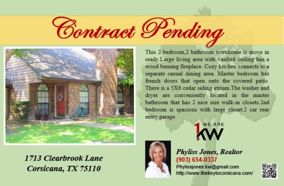 Contract Pending for 1713 Clearbrook Lane!