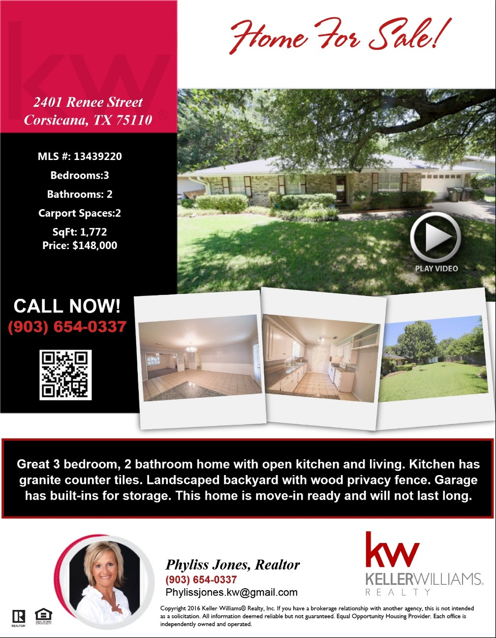 This home is move-in ready and will not last long. Please call me for more details Phyliss Jones (903) 654-0337.