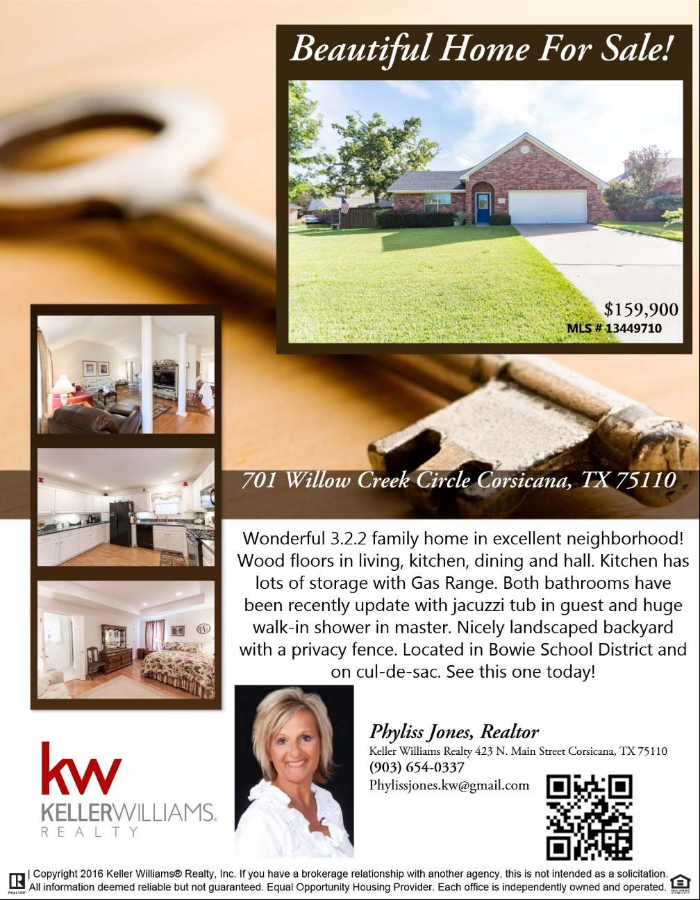Wonderful Home in Corsicana! Call now to know more.  Phyliss Jones (903) 654-0337.