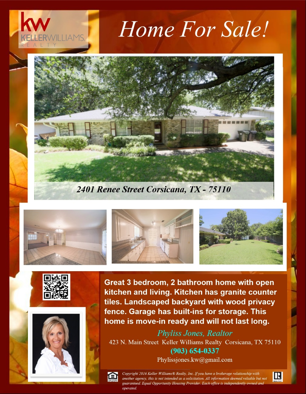 Wonderful home Available! to know more please call me Phyliss Jones (903) 654-0337.