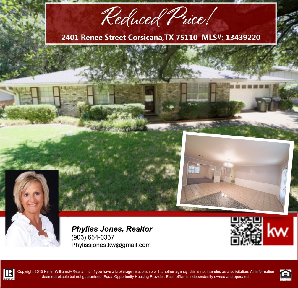 PRICE REDUCED! Motivated Seller! You may also want to check the video tour for this home https://youtu.be/6DXmj-VBGkM. Please call me for more info. Phyliss Jones (903) 654-0337.