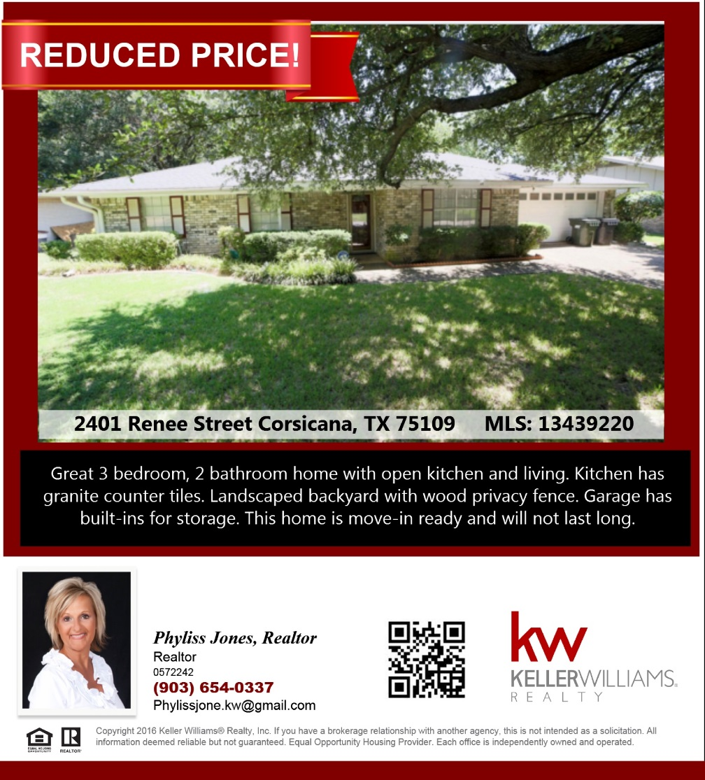 MOTIVATED SELLER! Own this beautiful home in Corsicana! Please call me for more info. Phyliss Jones (903) 654-0337.
