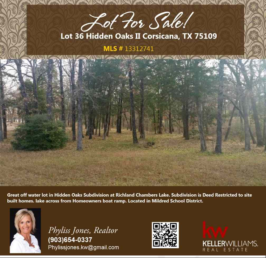 What a Beautiful Lot to build your dream home! Please call me for more info. Phyliss Jones (903) 654-0337.
