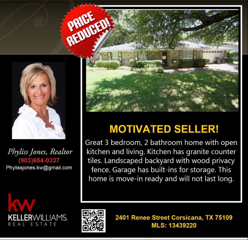 Reduced Price Wonderful Home in a Beautiful Location. Motivated Seller! Please call me for more info. Phyliss Jones (903) 654-0337.