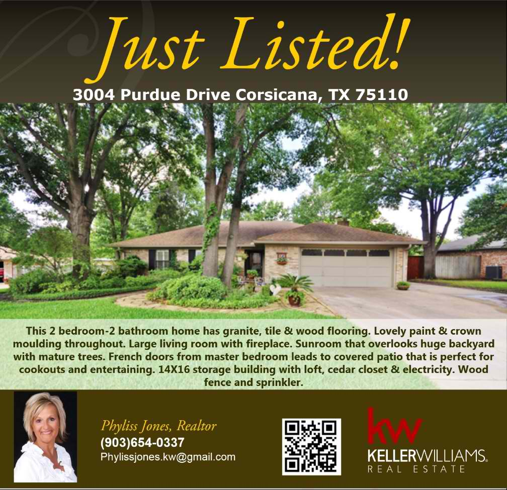 JUST LISTED! 2 bedroom-2 bathroom home in Corsicana! for more info please call me Phyliss Jones, Realtor (903) 654-0337. #Justlisted #Newlisting #Newhome #Kw #Kellerwilliamsarlington #Bestdeal #Homeforsale #Corsicanahomeforsale