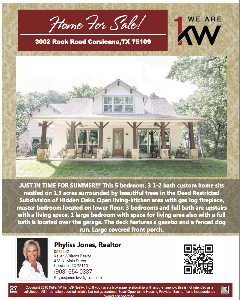I'm excited to show you this Beautiful Home! Please call me for more details. Phyliss Jones, Realtor (903) 654-0337. #Corsicanahomeforsale #KW #Realestate #Kellerwilliamsarlington #Homeforsale #Musthave