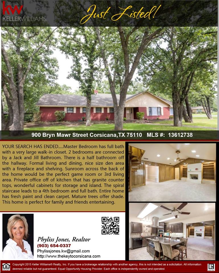 JUST LISTED! I'm excited to show you this Stunning Home in Corsicana! Please call me for more info. Phyliss Jones, Realtor (903) 654-0337.