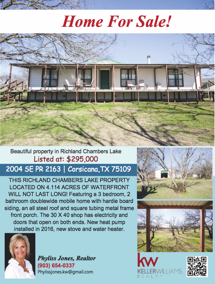 This Home is waiting for you and your Family! Come and check it out now! Please call me for more info and showing Phyliss Jones, Realtor (903) 654-0337. #Corsicanahomeforsale #Realestate #Kellerwilliamsarlington #Bestdeal #Bestlocation #Homebythelake #Richlandchamberslake