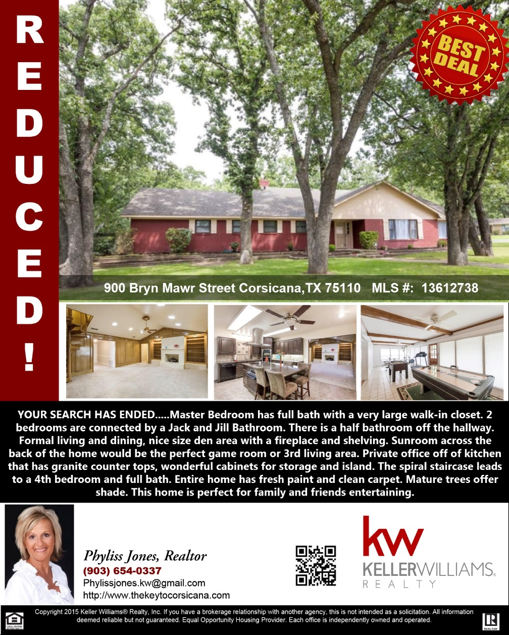 JUST REDUCED! Don't miss this Great Deal! Please call me for more info. Phyliss Jones, Realtor (903) 654-0337. #Reducedprice #Justreduced #Homeforsale #Bestdeal #KW #kellerwillimsarlington #Realestate #Corsicanahomeforsale