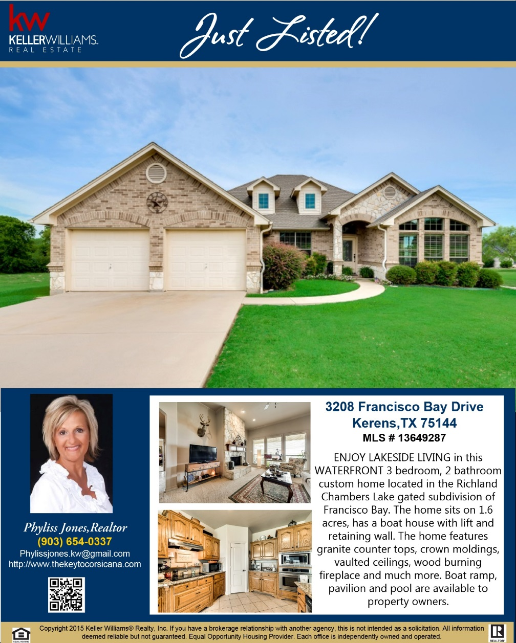BEAUTIFUL WATERFRONT 3 bedroom, 2 bathroom custom home located in the Richland Chambers Lake gated subdivision of Francisco Bay. :) Please call me for more details Phyliss Jones, Realtor (903)654-0337.