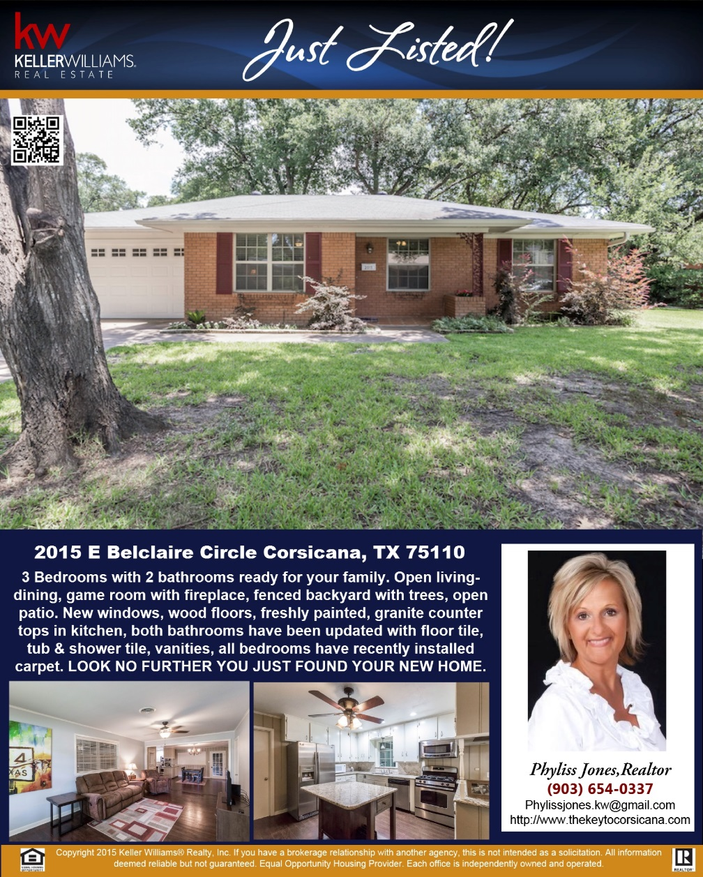 JUST LISTED! LOOK NO FURTHER YOU JUST FOUND YOUR NEW HOME! :) Please call me for more information. Phyliss Jones, Realtor (903) 654-0337.   #Newlisting #Kw #Justlisted #Kellerwilliamsarlington #Homeforsale #Bestdeal #Corsicanahomeforsale