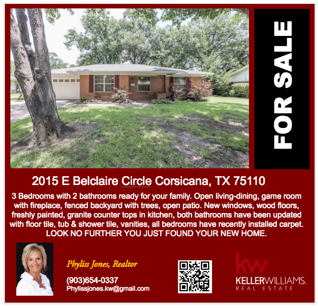 This Beautiful home is ready to be yours! Please call me for more information Phyliss Jones, Realtor (903) 654-0337.
