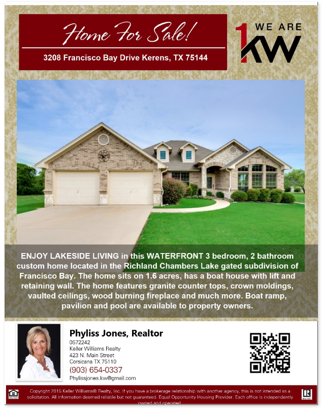 Own this Beautiful Home in Kerens! Please call me for more details. Phyliss Jones, Realtor (903) 654-0337.