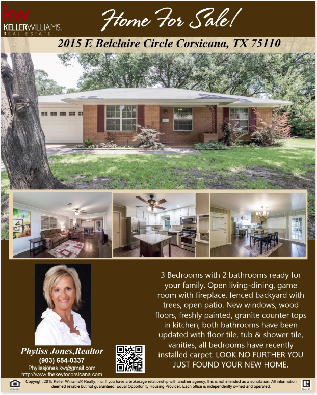 Own this wonderful home in Corsicana! for more info. please call me Phyliss Jones, Realtor (903) 654-0337.