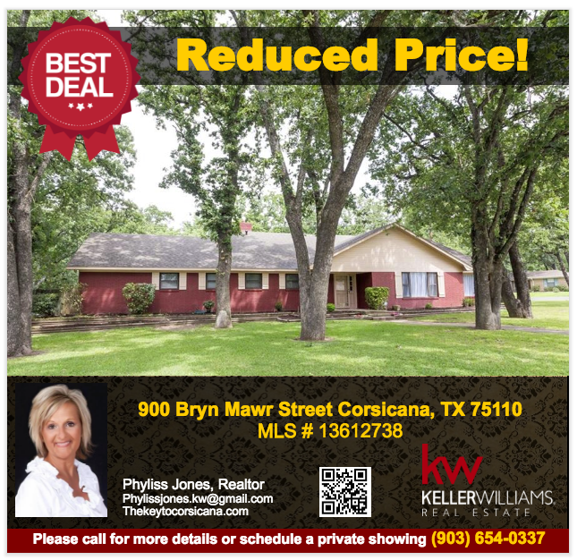 Don't miss this great deal! Please call now for more information or schedule a showing! Phyliss Jones, Realtor (903) 654-0337.  #Corsicanahomeforsale #Reducedprice #Bestdeal #KW #Kellerwilliamsarlington #Pricereduced #Homeforsale #Realestate