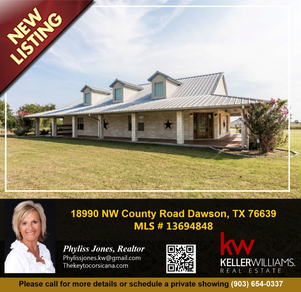 NEW LISTING! Don't miss this beautiful home in Dawson! To schedule a showing and for more info. please call me Phyliss Jones (903) 654-0337. #Justlisted #Dawsonhomeforsale #Bestdeal #Bestlocation #KW #realestate #Greathome #Beautifulhomeforsale #Kellerwilliamsarlington