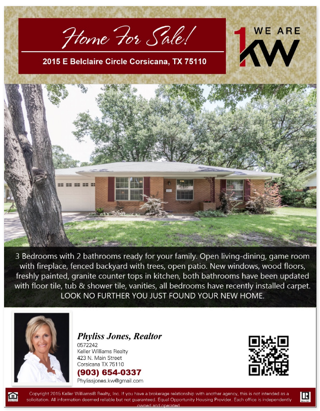 Beautiful home for sale! come and schedule a showing now! Please call me Phyliss Jones, Realtor (903) 654-0337.