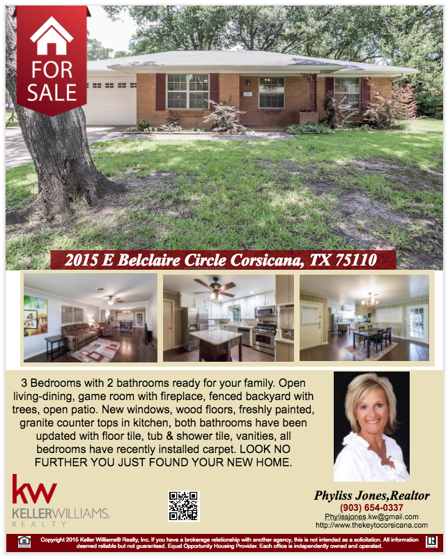 Look no further you just found your new home here in Corsicana! Please call me to schedule a showing and for more info. Phyliss Jones, Realtor (903) 654-0337. #Corsicanahomeforsale #KW #Kellerwilliamsarlington #Bestdeal #Homeforsale #greatlocation #Realestate