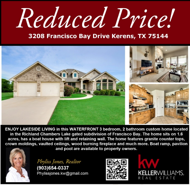PRICE REDUCED! Come and check out this beautiful home in Kerens! Please call me for more info.  Phyliss Jones, Realtor (903) 654-0337. #Reducedprice #Justreduced #Kerenshomeforsale #Bestdeal #Greatlocation #Beuatifulhome #kw #Kellerwilliamsarlington