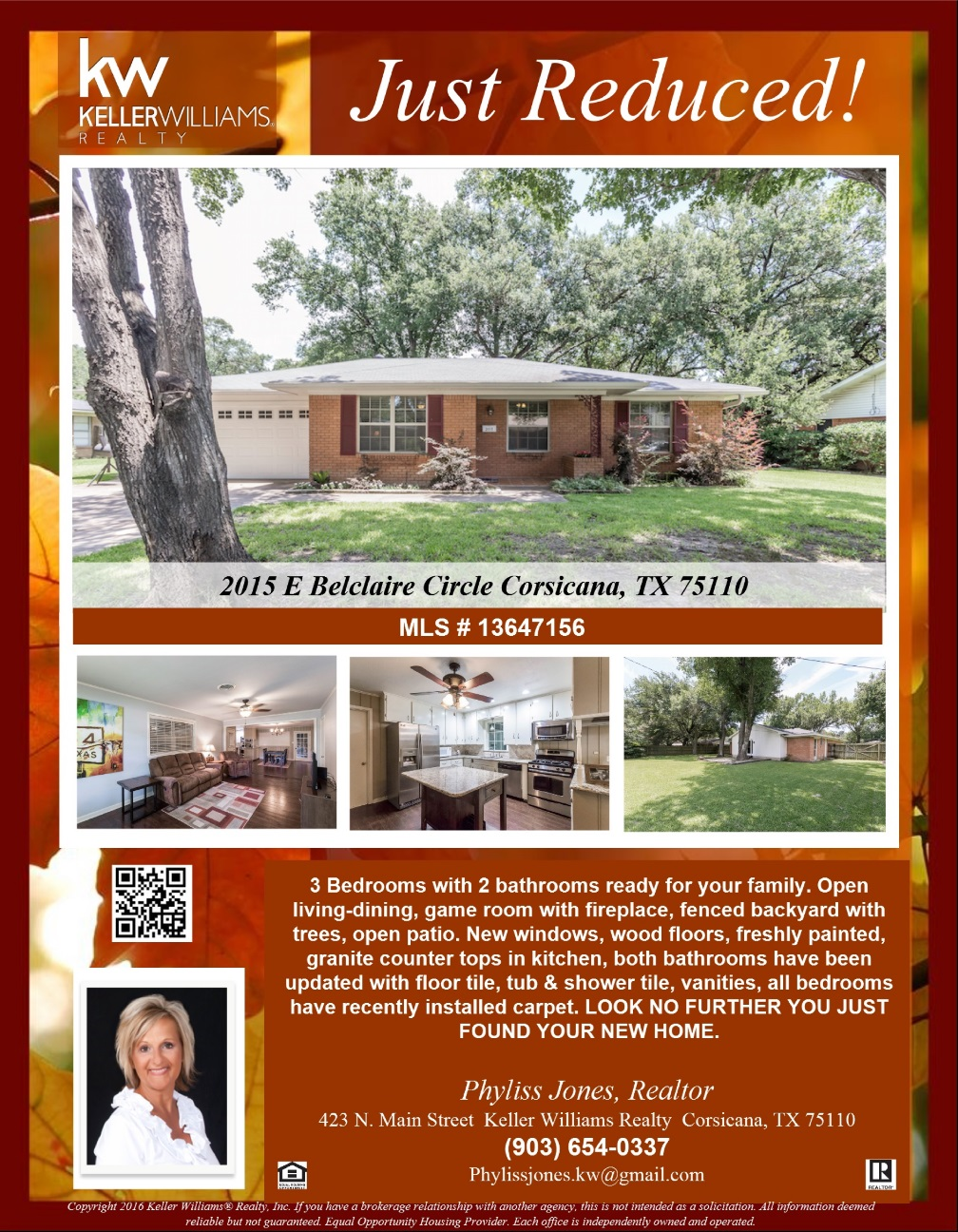 JUST REDUCED! Own this Beautiful home now! Please call me for more info. Phyliss Jones (903) 654-0337  #Reducedpricehome #Justreduced #Greatdeal #Corsicanahomeforsale #KW #Kellerwilliamsarlington #Bestdeal #Realestate