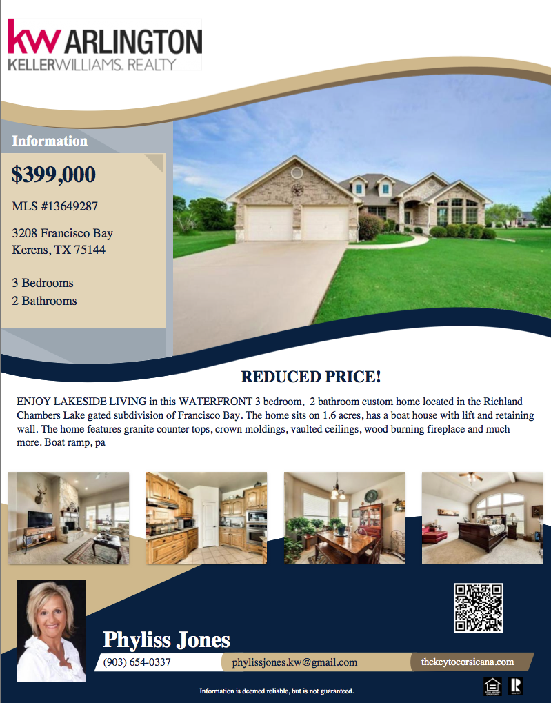Don't miss this great deal! Please call me for more information Phyliss Jones, Realtor (903) 654-0337 You may also click on this link to see more photos of this Beautiful listing. http://tour.circlepix.com/…/3208-Francisco-Bay-Kerens-TX-13… #Pricereduce #Corsicanahomeforsale #Bestlocation #KW #kellerwilliamsarlington #Homeforsale #Realestate