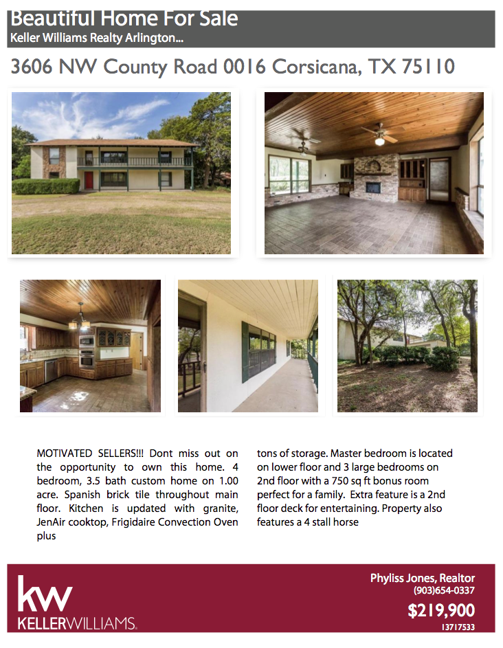 This wonderful home in just perfect of ryou and your family! Please call me for more info. Phyliss Jones, Realtor (903) 654-0337. #Bestlocation #Corsicanahomeforsale #KW #Kellerwilliamsarlington #Realestate