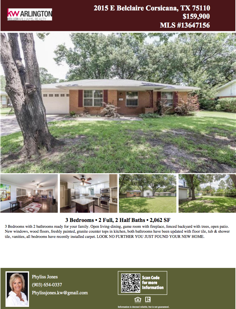 This home is just perfect for the upcoming holiday! :) Please call me for more info. Phyliss Jones, Realtor (903) 654-0337.  #Corsicanahomeforsale #KW #Kellerwilliamsarlington #Bestdeal #Greatlocation #Perfectgift #Homeforsale #Realestate