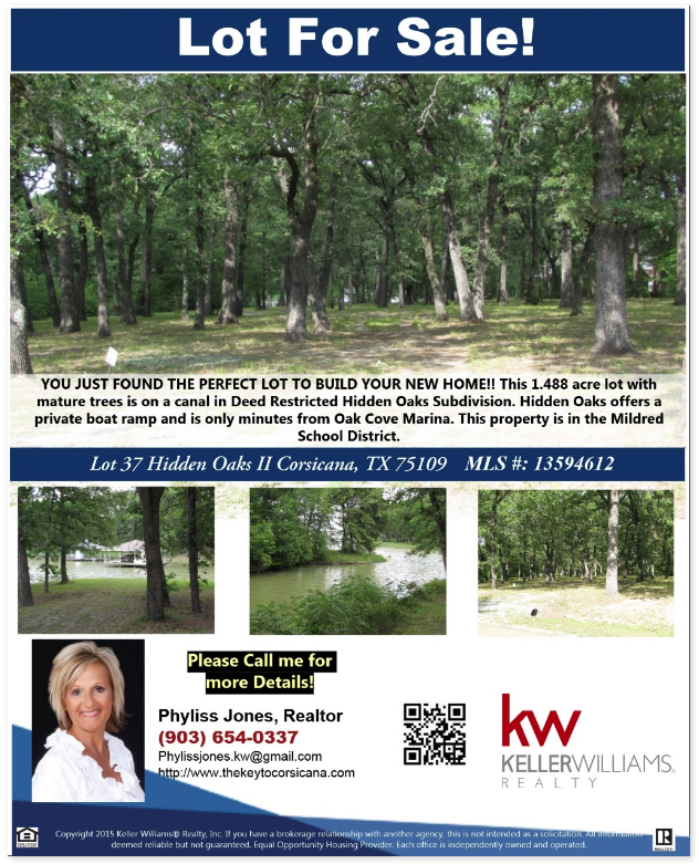 This is the Perfect lot to build your Dream home! Please call me for more info. Phyliss Jones, Realtor (903) 654-0337. #Lotforsale #Bestlocation #Richlandchamberslake #KW #Kellerwilliamsarlington #Realestate #Corsicanalotforsale