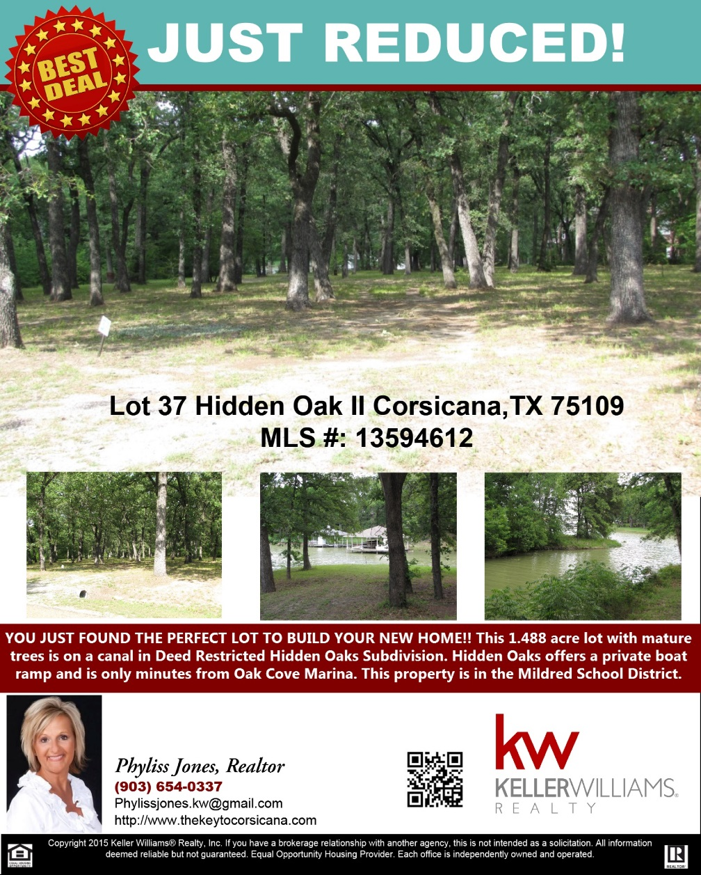 Just Reduced! Please call me for more information Phyliss Jones, Realtor (903) 654-0337. #Lotforsale #Corsicanalotforsale #KW #Kellerwilliamsarlington #Realestate #Bestdeal #Hiddenoaklot #Corsicanalot