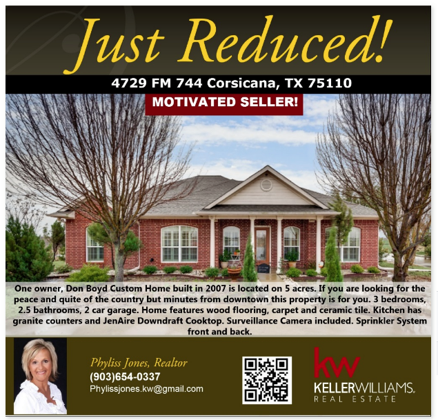 JUST REDUCED! Motivated Seller! Please call me for more details Phyliss Jones, Realtor (903)654-0337. #Justreduced #Bestdeal #Corsicanahomeforsale #KW #Kellerwilliamsarlington #Homeforsale #Realestate